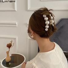 HUANZHI 2020 nowa hiperbola duże perły akrylowe spinki do włosów duży rozmiar makijaż stylizacja włosów Barrettes dla kobiet akcesoria do włosów tanie tanio CN (pochodzenie) Ze stopu cynku Moda Pearl Symulowane perłowej Pazury włosów Kobiety Klasyczny Hairwear Hair clip Księżyc