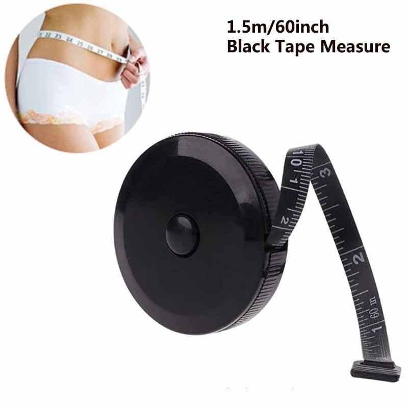 Черная Рулетка 1,5 м/60 дюймов, двухсторонние Выдвижные Инструменты, автоматическая Гибкая мини-измерительная лента ABS для шитья