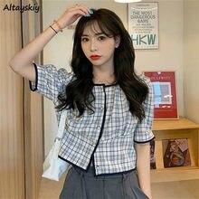 Blusa Vintage a cuadros para chica joven, Top corto de manga corta con botones, Tops Retro coreanos para mujer