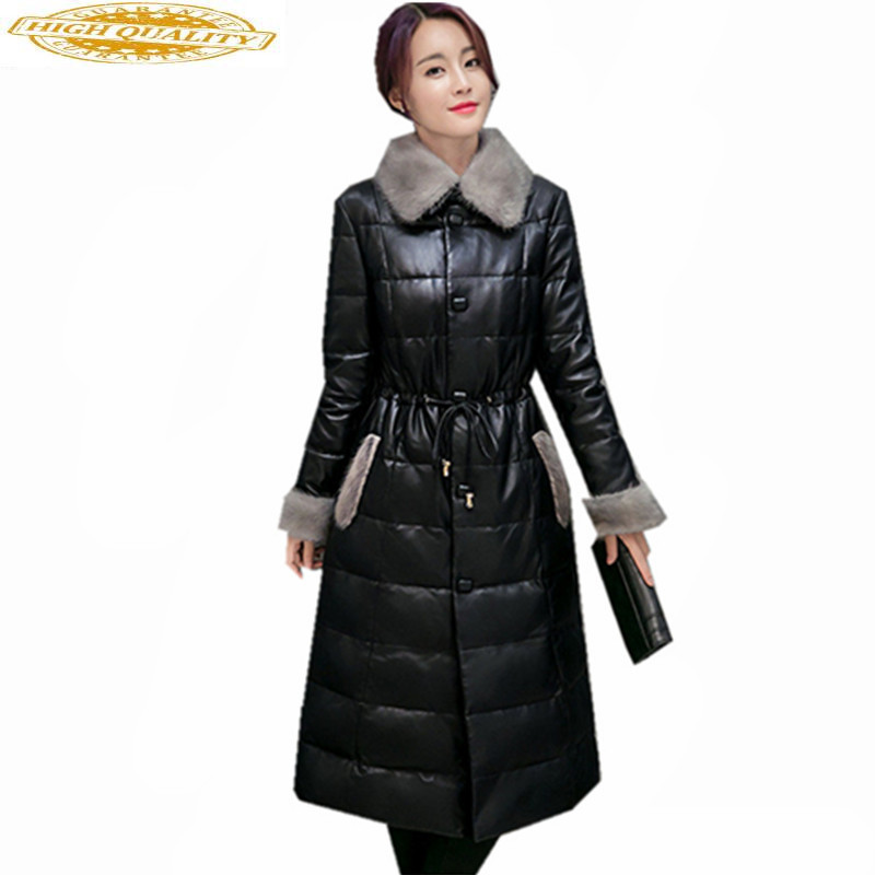 High Imitation Mink Fur Collar Coat Female Winter Jacket Women Warm White Duck Down Jackets Casual Parkas Abrigo WXF431