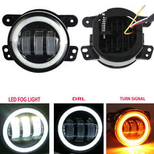 """4"""" Inch 30W Round LED Fog Passing Lights with Halo Ring DRL Offroad Lamps For Jeep Wrangler JK 2007 2017 Dodge Journey Magnum"""
