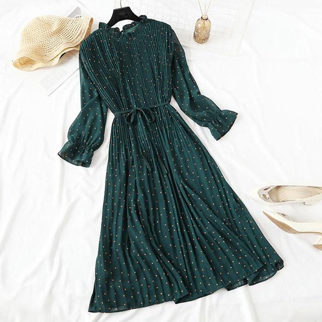 Elegant Polka Dot Women Dress Female Casual Flare Sleeve Office Chiffon Dot Print Dresses A-line Vintage Sweet Clothing Vestidos 1