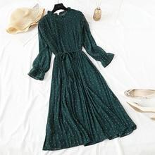 Vestido elegante de lunares para mujer vestido femenino Casual de manga de llamarada Oficina de gasa de punto de impresión Vestidos de una línea Vintage dulce ropa