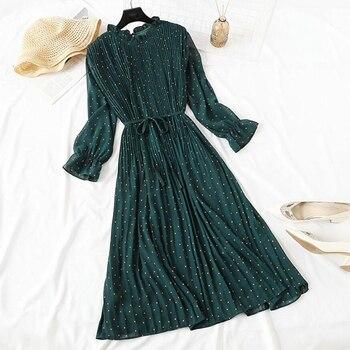 цена на Elegant Polka Dot Women Dress Female Casual Flare Sleeve Office Chiffon Dot Print Dresses A-line Vintage Sweet Clothing Vestidos