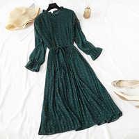 Elegante polka dot vestido feminino casual manga alargamento escritório chiffon dot print vestidos a linha do vintage doce roupas