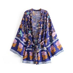 Image 3 - boho vintage summer tops floral print with washes kimono women 2019 fashion cardigan V neck beach chic blouses shirts blusas