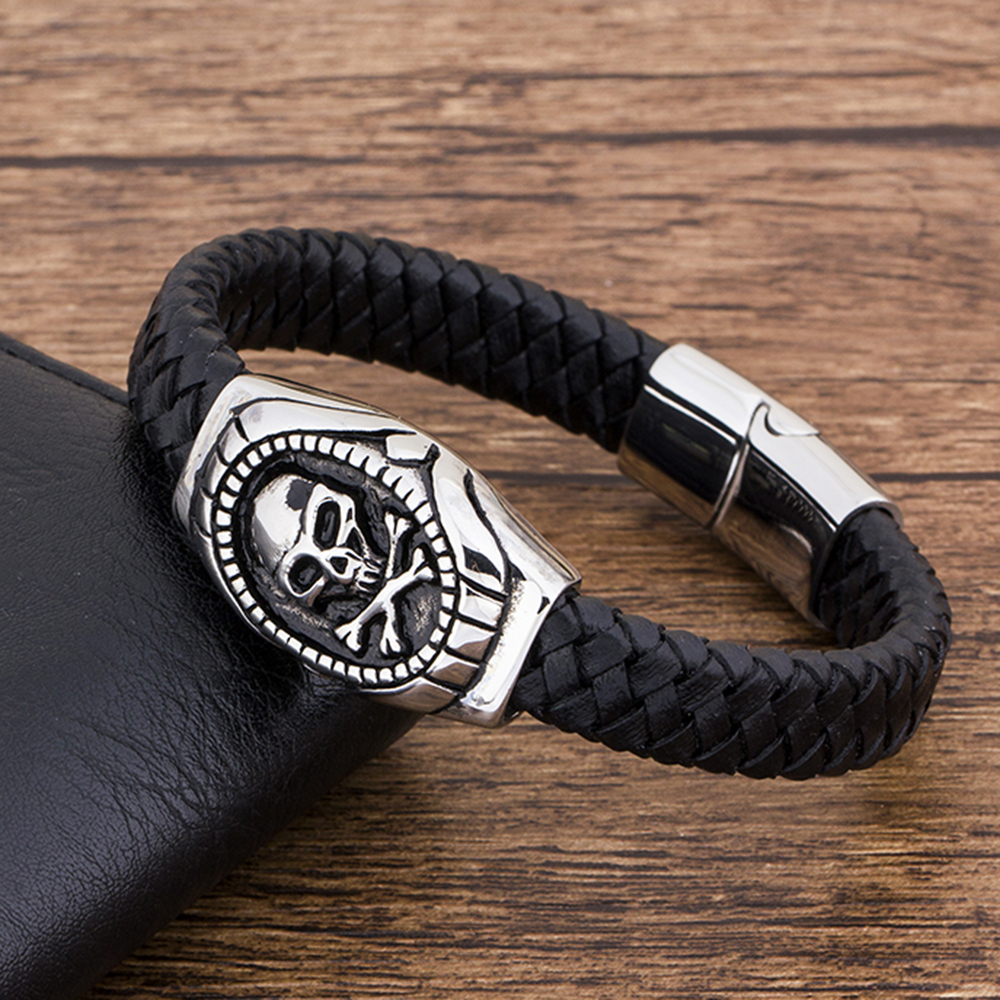 Fashion Charm Stainless Steel Magnetic Black Genuine Leather Braided Men Bracelet Jewelry Skull Rope Punk Wholesale Accessories