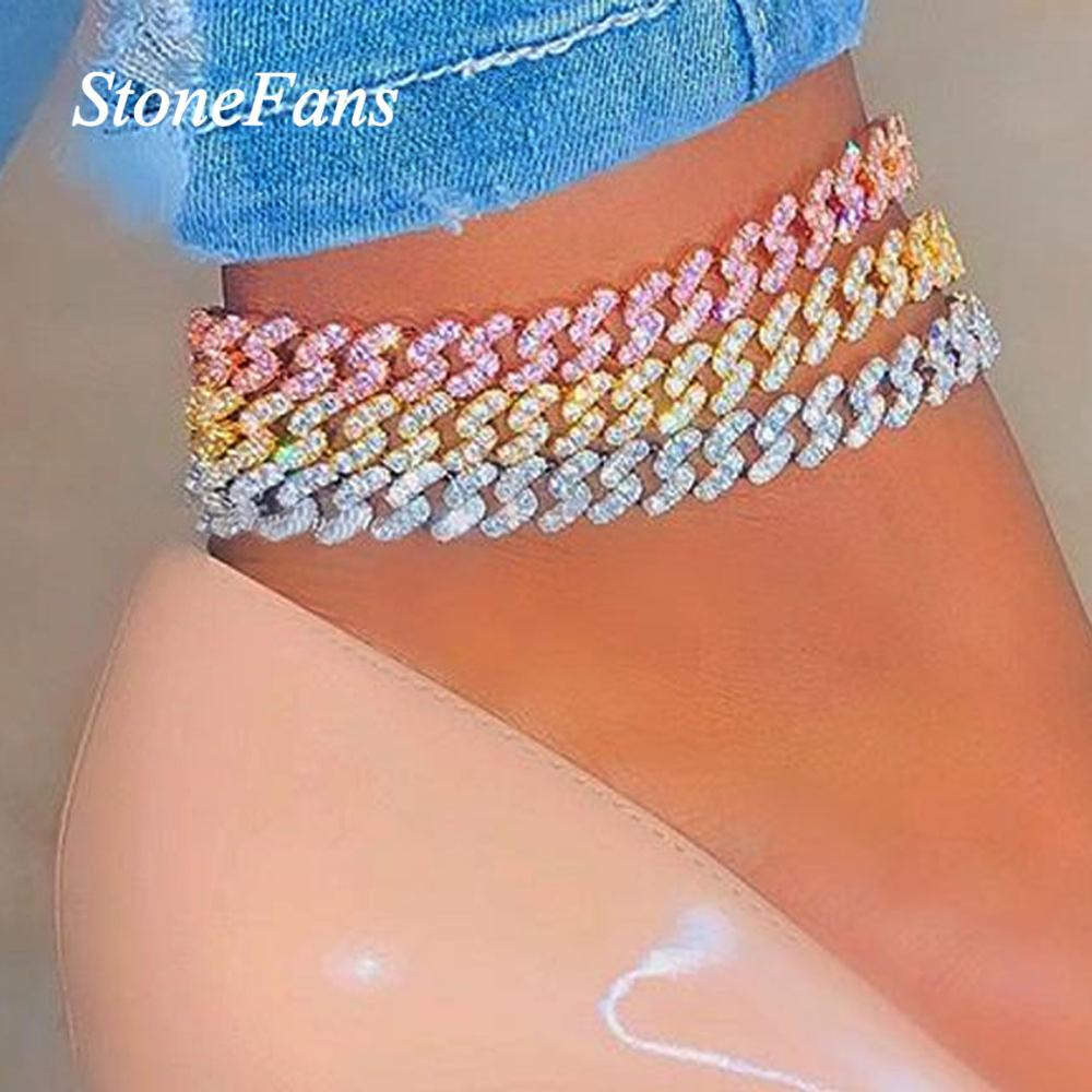 Stonefans Hip Hop Cuban Link Chain Iced Out Anklet Bracelets for Women Charm Luxury Shiny Foot Jewelry Barefoot Sandals Anklet