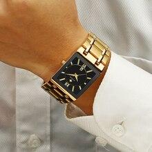 WWOOR montre bracelet à Quartz pour hommes, montre carrée de luxe, en acier inoxydable, or, étanche