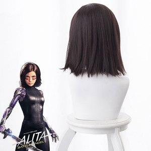 Film Alita Schlacht Engel Cosplay Perücken Schwarz Haar für Frauen Alita Haar Synthetische Perücke Halloween Karneval Prop Kostüm Perucas 40CM