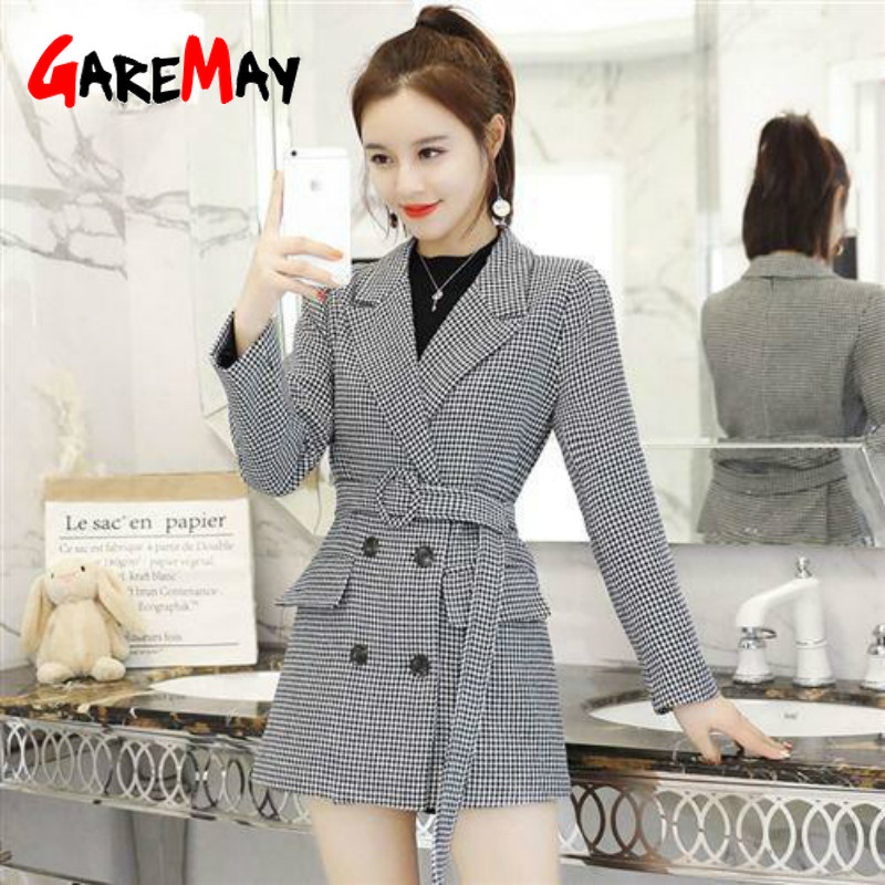 GareMay Double Breasted Blazers Women's Houndstooth Jackets For Women  Office  Elegant Long Sleeve Suits Coats Female Ladies