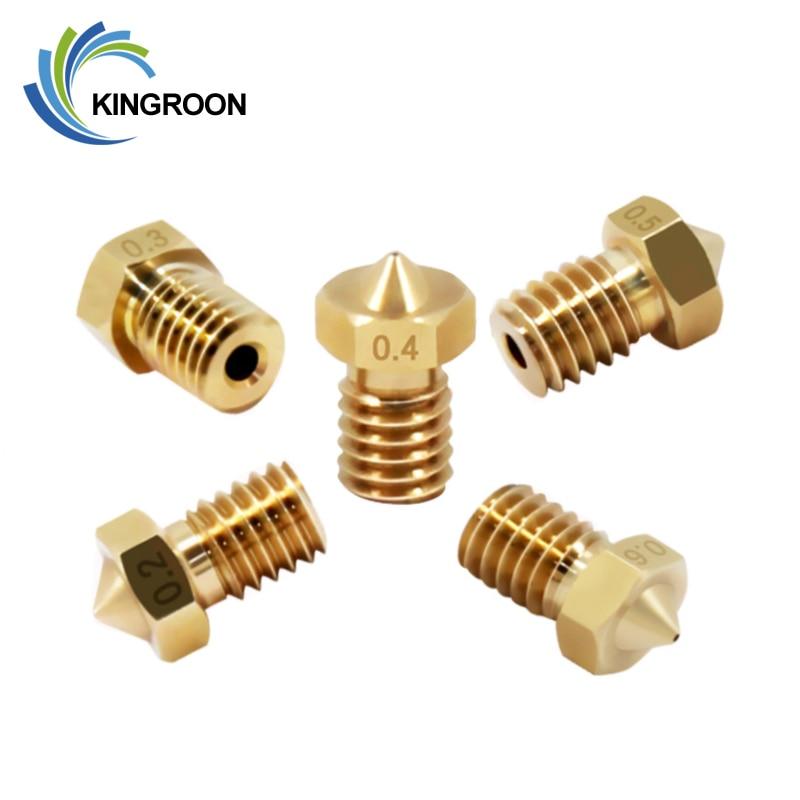 Kingroon 3pcs V5 V6 E3d Nozzle M6 Thread 3d Printer Patrs 0 2 0 4 0 6 0 8 1 0mm All Metal Brass Nozzle For 1 75mm 3mm Filament Hot Sale Bea6b1 Cicig