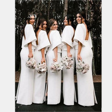 YiMinpwp White Sheath Bridesmaid Dresses V Neck Backless Flat Sleeve Floor Length Back Split Garden Country Wedding Guest Gowns(China)