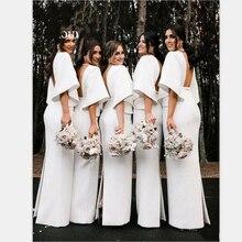 YiMinpwp White Sheath Bridesmaid Dresses V Neck Backless Fla