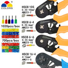 HSC8 10S crimping pliers 0.25-10mm2 HSC8 6-4/6-6 0.25-6mm2 tube type needle terminal box set mini pressure wire tools hsc8 6 4 hsc8 6 4a mini type self adjustable crimping plier 0 25 6mm2 terminals crimping tools multi tools hands pliers