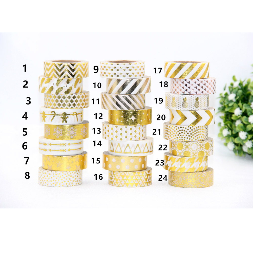 Hot Sales!! 10m Gold Foil Decorative Tape Dot, Pineapple,heart, Strip Masking Christmas Japanese Washi Tape