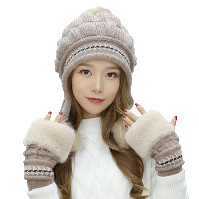 Newly Fashion Women Knitted Hat Gloves Set Xmas Warming Beanie Hat Full Cover Glove Kit For Winter M99