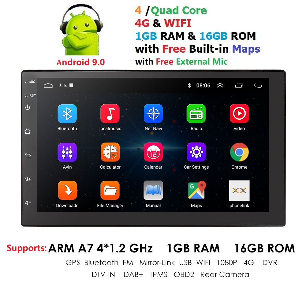 Android 9.0 2 Din 7 Inch HD Touch Screen Car Radio Multimedia Video Player 4 Core Universal Auto Stereo GPS MAP Mirror Link