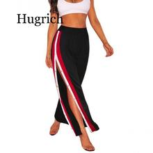 High Waist Wide Leg Pants Women Fashion Casual Palazzo Pants Summer Striped Flare Pants Loose Double Side Split Trousers Black tie side striped cami top with wide leg pants