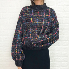 grid sweater Autumn female lazy wind 2019 new set of loose candy color wear plaid shiny silk