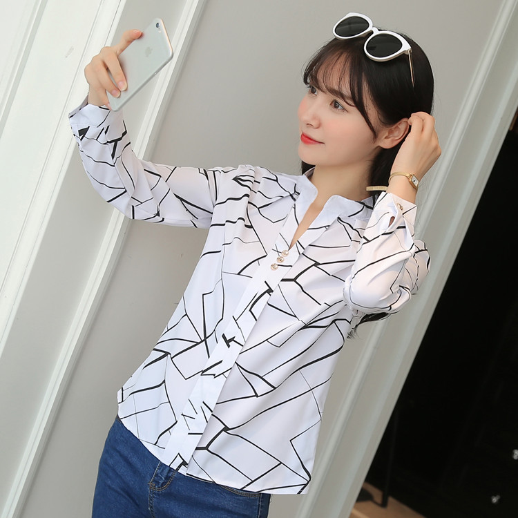 H968d9f299501454e831cf08406bdd5abZ - Women Fashion White Tops and Blouses Stripe Print Design Casual Long Sleeve Office Lady Work Formal Shirts Female Plus Size