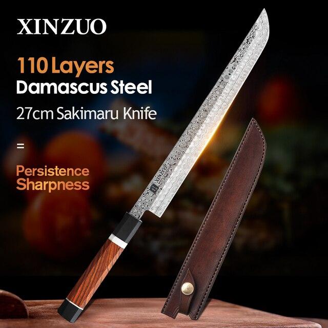 XINZUO 10.5 Sakimaru Knife 110 Layers Damascus Steel Sushi Sashimi Salmon Fish Filleting Kitchen Chef Knife Octagonal Handle