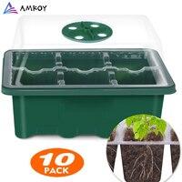 AMKOY-Kit de iniciación de semillas de 6/12 células, caja de cultivo de semillas, bandejas de cSeedling, caja para germinación con cúpula y Base