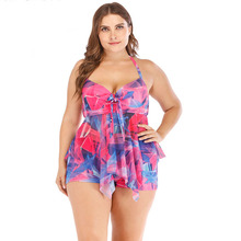 цена на Plus Size 5XL Print Tankini Set Large Big Plus size Swimwear Women Swimsuit Tankini Set Two Piece Split Bodysuit Straps 2020