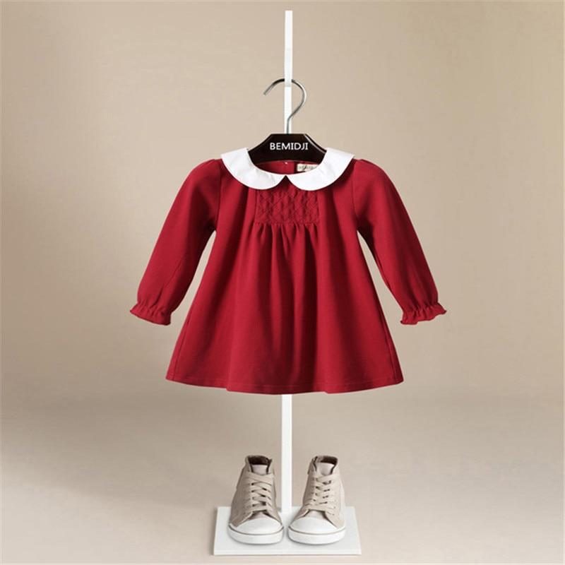Baby Girls Dress Warm Lattice Cotton Long-Sleeve Princess Dress Kids Clothes Children Dresses For Toddler Baby Christmas Costume