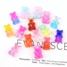 10pcs 12*18mm Gradient Cute Cartoon Crystal Transparent Bear Resin Flat Back Scrapbook DIY Ornament Jewelry Accessories