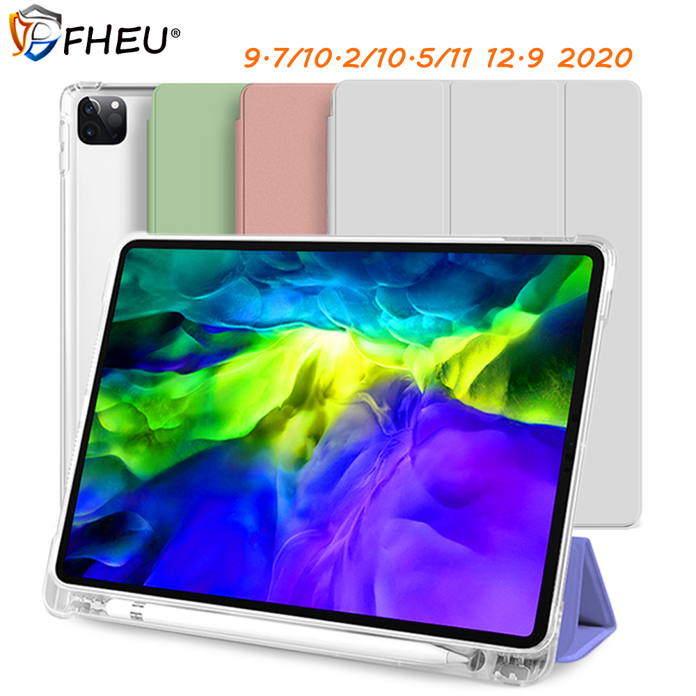 Back Cover with Pencil Holder Smart Funda Transparent Case for 7th 10.2 2019 Air 3 10.5 inch ipad 2017/2018 9.7 Pro 12.9 11 2020 image