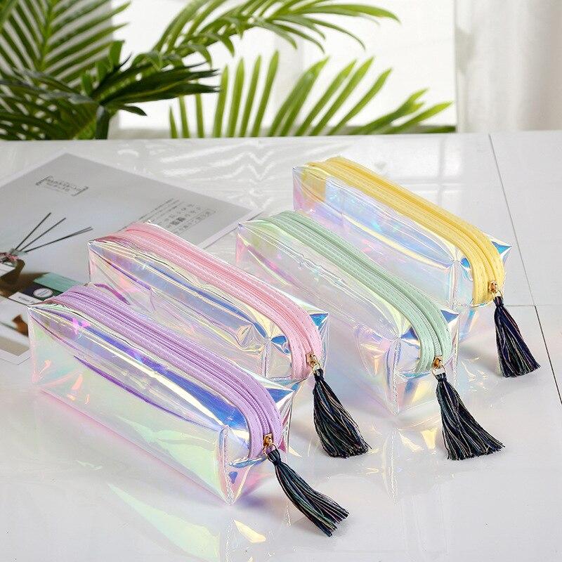 Чехол-карандаш с лазерной кисточкой, радужная косметичка, чехол-карандаш, школьные принадлежности, канцелярские принадлежности, подарок