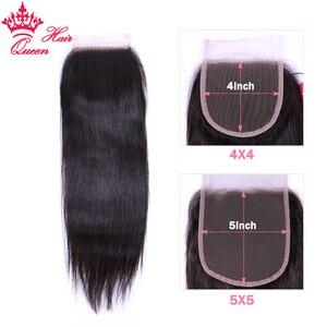 Image 2 - מלכת שיער חנות רשמית ברזילאי ישר חבילות עם סגירת 5x5 100% אדם שיער לא מעובד הארכת שקוף תחרה מוצרים