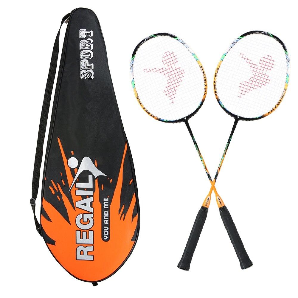 2 Player Badminton Bat Replacement Set Ultra Light Carbon Fiber Badminton Racquet With Bag
