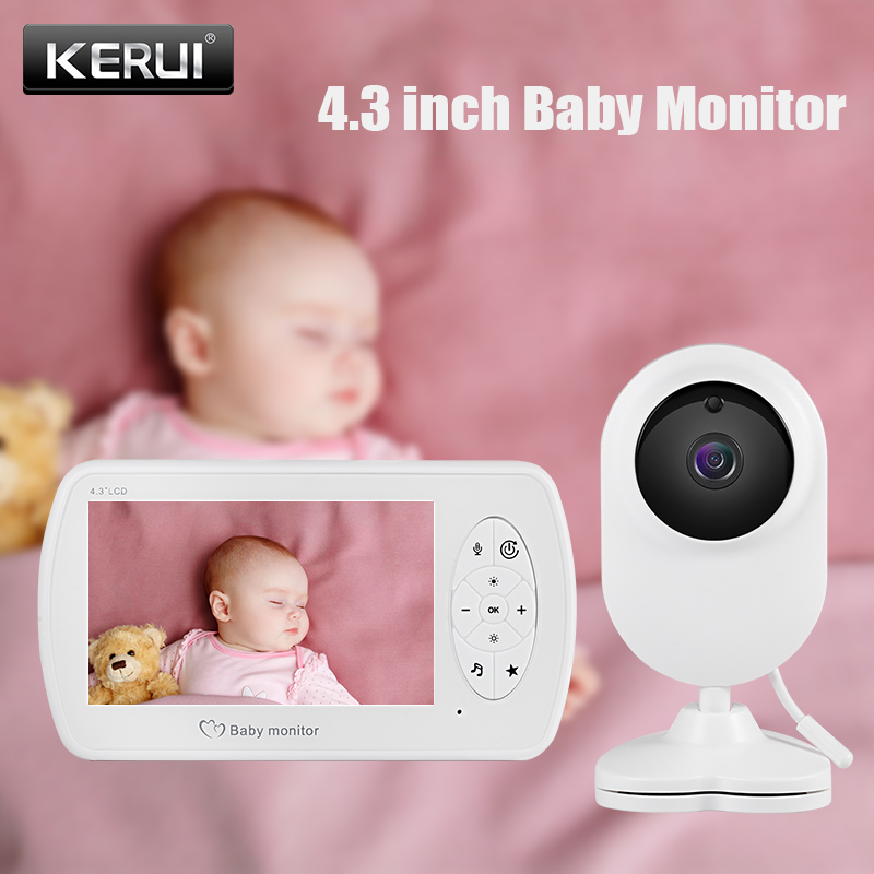 KERUI 4.3 Inch Wireless Video Baby Monitor High Resolution 1080P Feed Alarm Clock Crying Detection Alarm VOX Babysitter