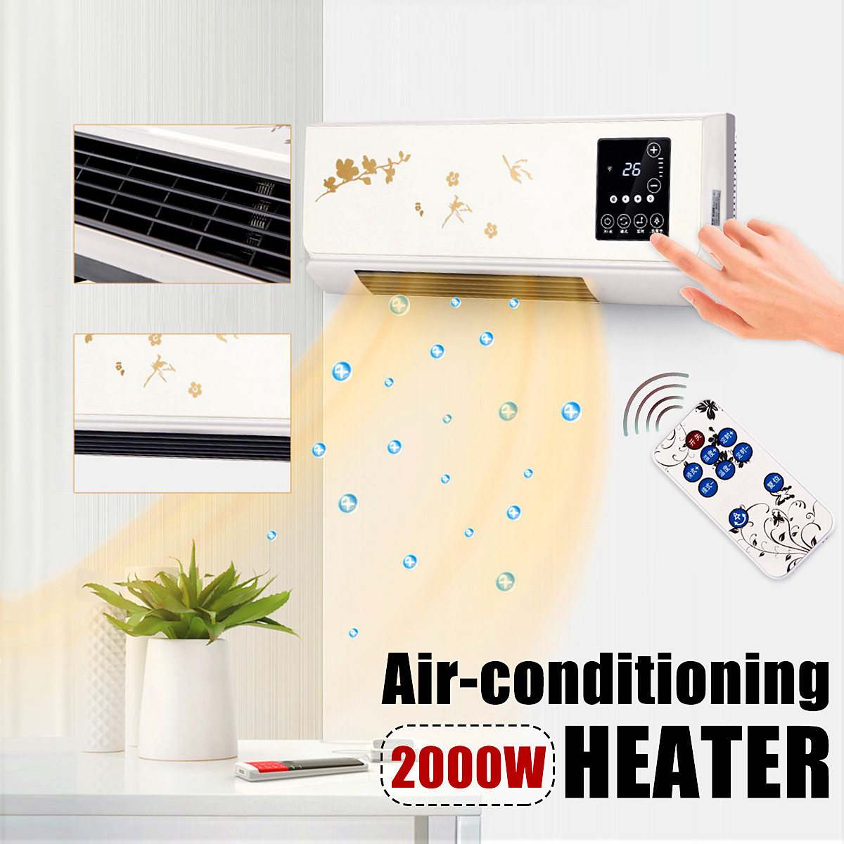 2KW Wall-mounted LED Touch Switch Heater Home Energy Saving Remote PTC Air Electric Heater Fan Bathroom Air Conditioning Cooler