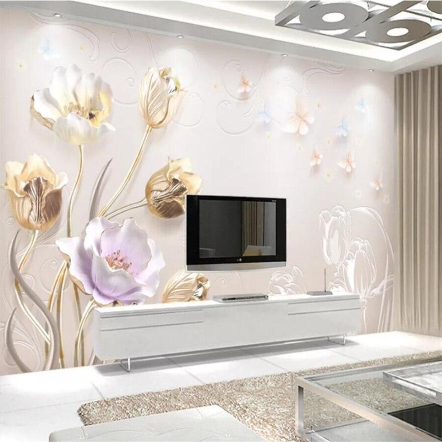 Beibehang Custom Wallpaper 3d Mural Relief Chinese Modern Floral