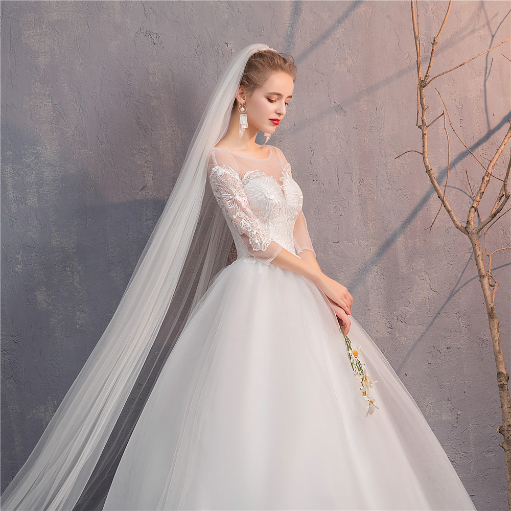 Women's Luxury O Neck Bridal Gown Lace Up Flare Sleeve Wedding Dresses Vestido De Noiva /свадебное платье/robe De Mariee