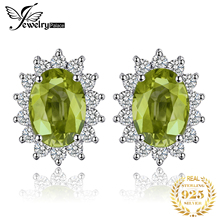 New Princess Diana Oval Natural Green Peridot Earrings Solid 925 Sterling Silver Stud Earrings Fashion Wedding Jewelry For Women