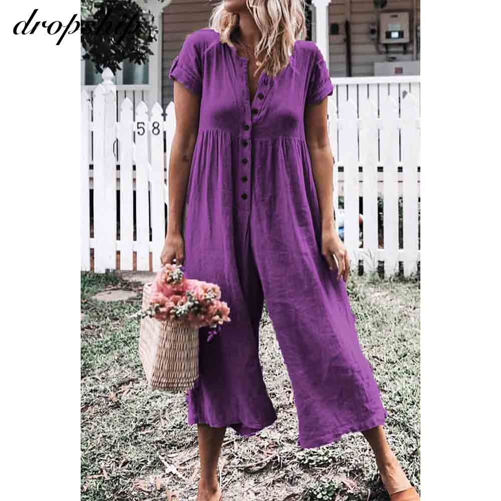Dropshiop Jumpsuit Women Elegant Shorts Sleeve Button Solid Overalls For Women 2020 Summer Jumpsuit Romper Loose Playsuit