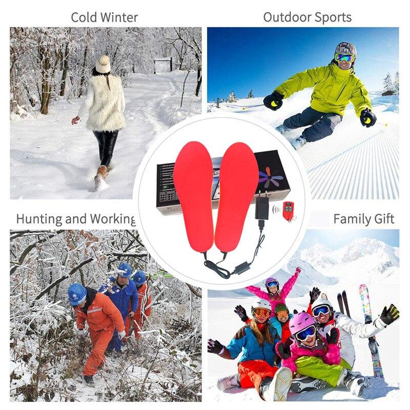 2 пары нагревательных стелек с аккумулятором 2000 мАч для мужчин и женщин, теплые зимние стельки для ног, уличные спортивные Нескользящие терм... - 6