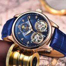 Reloj LIGE – montre mécanique à Double Tourbillon pour hommes, automatique, mode, bracelet, horloge en cuir, suisse