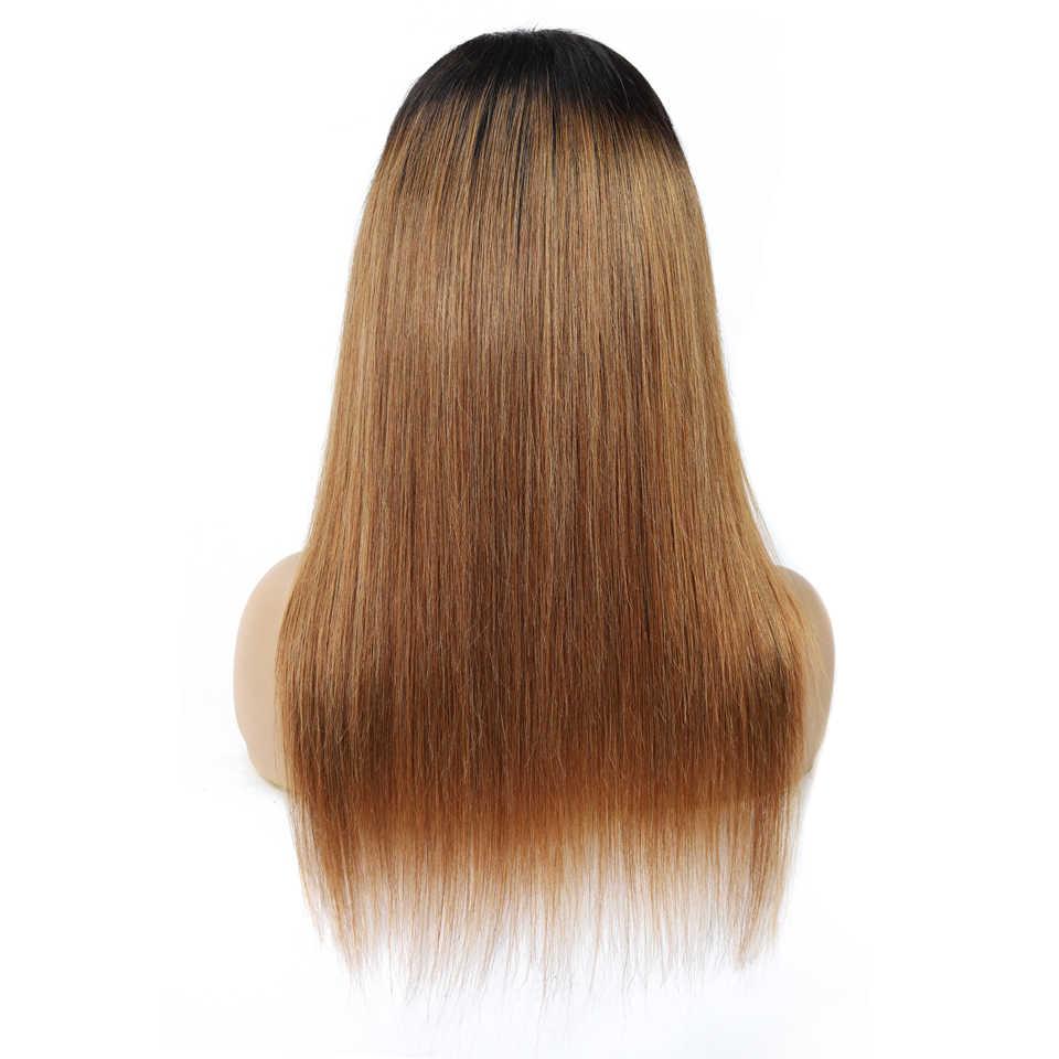 T1b/30 Honing Blonde Ombre Menselijk Haar Pruik 4X4 Vetersluiting Pruik Braziliaanse Straight Menselijk Haar Pruiken voor Vrouwen Non-Remy 150% Dichtheid
