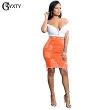 GBYXTY – jupe crayon en jean à taille haute pour femmes, couleur néon, déchiré, trous, gland, moulante, Mini jupe en Denim, été, ZL346
