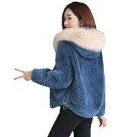 High quality imitation fur coats female short autumn winter new Hooded thick granules sheared lamb plush coat women's Korean