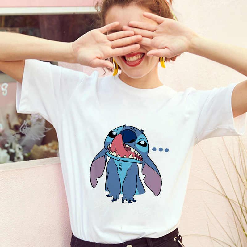 Showtly Lilo Stitch Berbohong Fashion Wanita T-shirt Harajuku Kawaii Lengan Pendek Vintage Indah Kartun Kasual Lucu TEE
