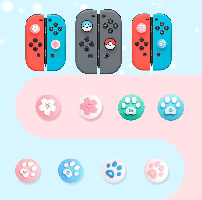 Cute Cat Paw Claw Sakura Thumb Stick Grip Cap Joystick Cover For Nintend Switch Lite Joy-Con Controller Gamepad Thumbstick Case(China)