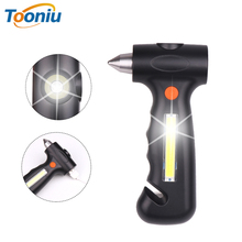 цены Multi-function Work light LED Flashlight With safety hammer, cutting rope knife Built-in lithium battery Outdoor safety tools