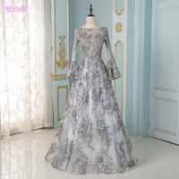 Elegante Grau Volle Hülse Stickerei Abendkleid Lange Perlen Formelle Abendkleid Aline Kleider
