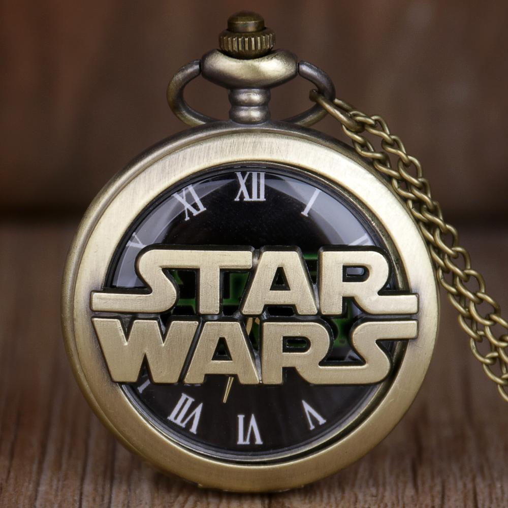 Retro Bronze Star Wars Hollow Quartz Pocket Watch Necklace Vintage Fob Pendant Clock With Chain Marvel Movie Men Children' Gift